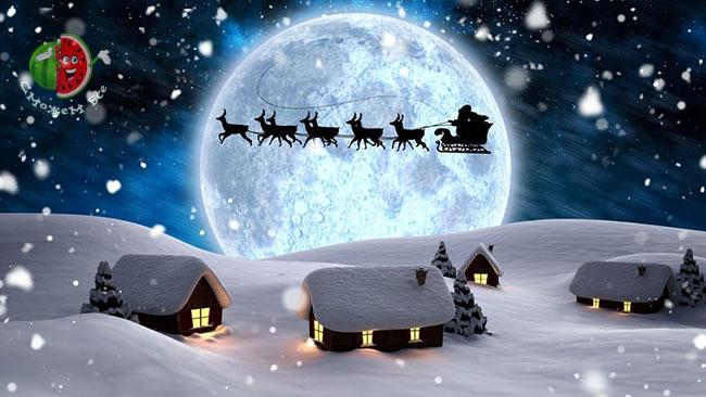 Санта Клаус на конях, на Новый год